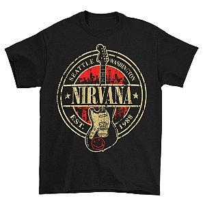 Camiseta Básica Banda Rock Nirvana Est 1988 Guitar