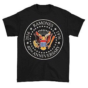 Camiseta Básica Banda Rock Ramones 40th Anniversary