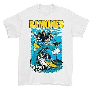 Camiseta Básica Banda Rock Ramones Rockaway Beach