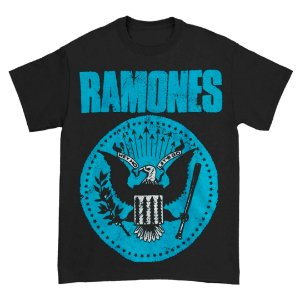 Camiseta Básica Banda Rock Ramones Distressed Blue