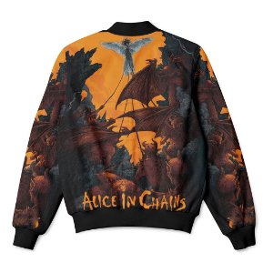 Jaqueta Bomber com Bolsos Banda Rock Alice In Chains Orange