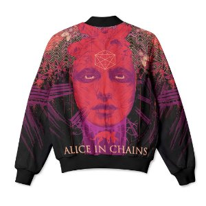 Jaqueta Bomber com Bolsos Banda Rock Alice In Chains