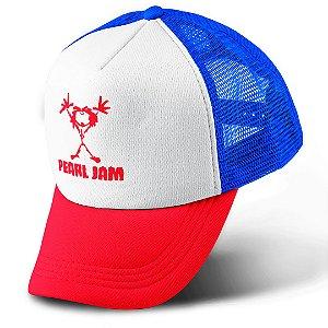 Boné Trucker Com Telinha Banda Rock Pearl Jam