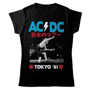 Camiseta Feminina Baby Look Banda Rock AC/DC Tokyo '81