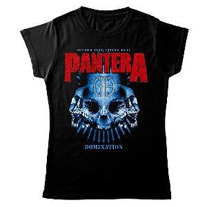 Camiseta Feminina Baby Look Banda Rock Pantera Thrash Metal Domination