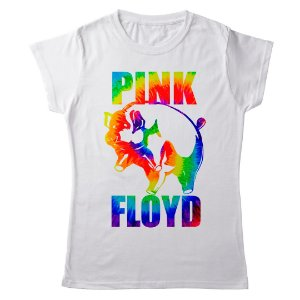 Camiseta Feminina Baby Look Banda Rock Pink Floyd Pigs