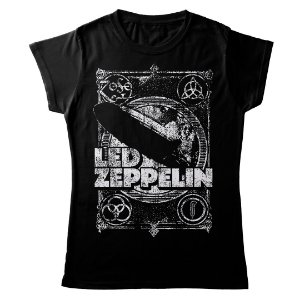 Camiseta Feminina Baby Look Banda Rock Led Zeppelin