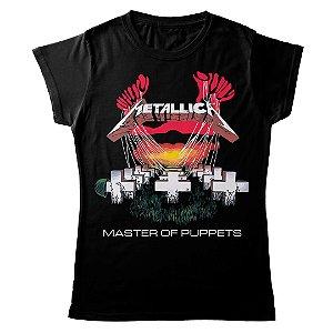 Camiseta Feminina Baby Look Banda Heavy Metal Metallica Master Of Puppets