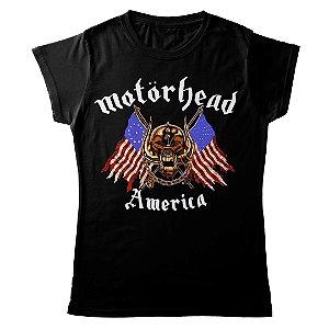 Camiseta Feminina Baby Look Banda Heavy Metal Motörhead America