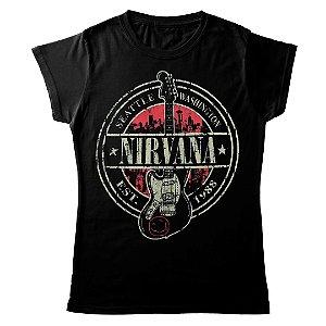 Camiseta Feminina Baby Look Banda Rock Nirvana Est 1988 Guitar