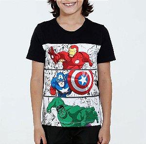 camiseta preta vingadores kids