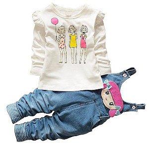 t-shirt top + calças jeans casual roupa para meninas