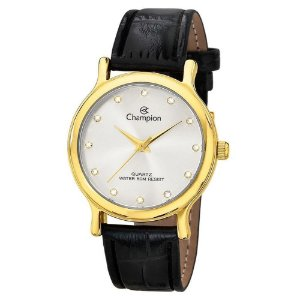 Relógio Champion Feminino Dourado Couro Ch22733b