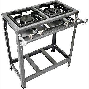 Fogão Industrial Omega 30x30 Perfil 5cm 2 Bocas Baixa Pressão 1 Simples 1 Duplo com Pé