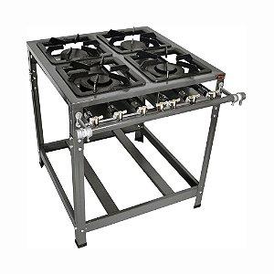 Fogão Industrial Omega 30x30 Perfil 5cm 4 Bocas Baixa Pressão 2 D 2 S Regulador Mang