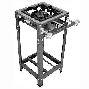 Fogão Industrial Omega 30x30 Perfil 5 cm 1 Boca Simples Baixa Pressão com Pé