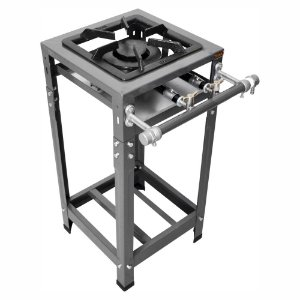 Fogão Industrial Omega 30x30 Perfil 5cm 1 Boca Baixa Pressão 1 Duplo com Pé