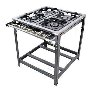 Fogão Industrial Omega 40x40 Perfil 7cm 4 Bocas Baixa Pressão 2 Duplo 2 Simples com Pé Sem forno