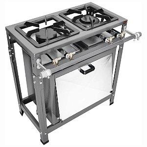 Fogão Industrial Omega 30x30 Perfil 5cm 2 Bocas Baixa Pressão 1 Simples 1 Duplo com Pé com Forno
