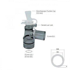 Conector Giratório com Luer Lock para Broncoscopia (5.0 mm) I.D. 15mm / O.D. 22m