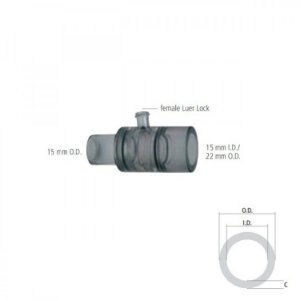Conector Reto com Luer Lock O.D. 15 mm e I.D. 15 mm / O.D. 22 mm