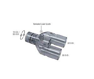 Conector Y Reto Giro Simples c/ Luer Lock Femea VBM