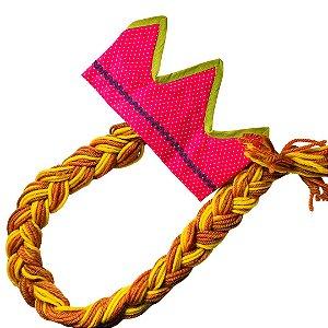 Fantasias Infantis - Coroa Pink com Trança Amarela