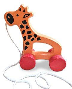 Brinquedo de Puxar de Madeira - Girafa Baby