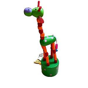 Brinquedo de madeira articulado - Girafa Verde