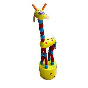 Brinquedo de madeira articulado - Girafa Amarela
