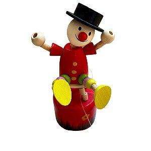 Brinquedo de madeira articulado - Palhaço Vermelho