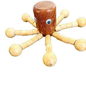 Brinquedo de madeira articulado - Polvo Lula Massageador