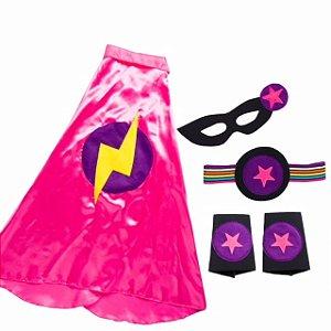 Fantasia infantil - Menina Pink Super Heroína