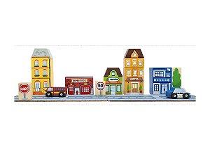 Bloco de Montar Cidade com Bombeiros - Brinquedo Educativo