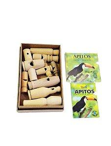 Caixa de 9 Apitos Sons Pássaros de Madeira