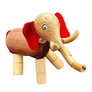 Brinquedo de madeira articulado - Elefante Ganesha Orelha Vermelha