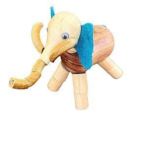 Brinquedo de madeira articulado - Elefante Ganesha Orelha Azul