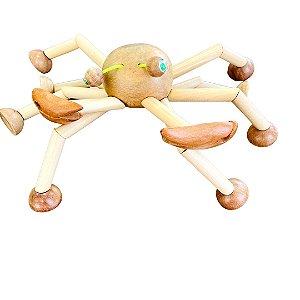 Brinquedo de madeira articulado - Caranguejo Geribá