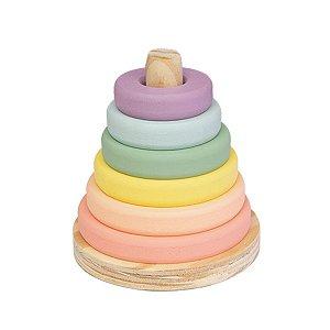 Torre de Encaixe de Madeira - Donuts Candy