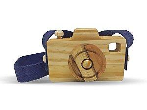Câmera Fotográfica Lúdica (alça azul) - Brinquedo Educativo de Madeira