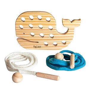 Alinhavo Baleia Baby - Brinquedo Educativo de Madeira