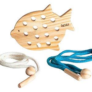 Alinhavo Peixe Baby - Brinquedo Educativo de Madeira
