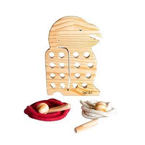 Alinhavo Papagaio Baby - Brinquedo Educativo de Madeira