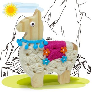 Alinhavo Lhama Frida - Brinquedo Educativo de Madeira