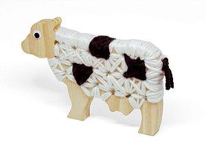 Alinhavo Vaca Dolores - Brinquedo Educativo de Madeira