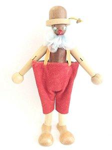 Brinquedo de madeira articulado - Palhaço Peixoto
