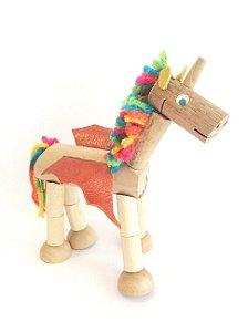 Brinquedo de madeira articulado - Unicórnio Helley (com imã)