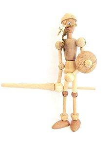 Brinquedo de madeira articulado - Cavaleiro Cervantes