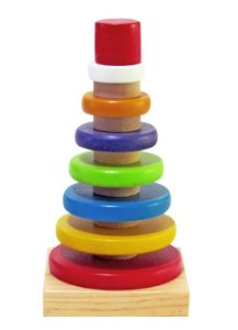 Brinquedo de Encaixe de Madeira -Pirâmide com Anéis