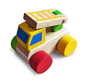 Brinquedo de Madeira - Mini Caminhão de Bombeiro Júnior